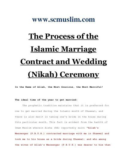 The Process Of The Islamic Marriage Contract And Wedding Nikah