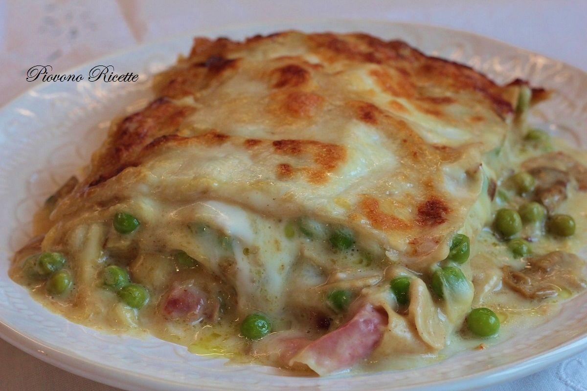 Ricetta Lasagne Ai Funghi.Lasagne Ai Funghi Con Speck E Piselli Piovono Ricette Ricetta Ricette Lasagna Ai Funghi Pasti Italiani