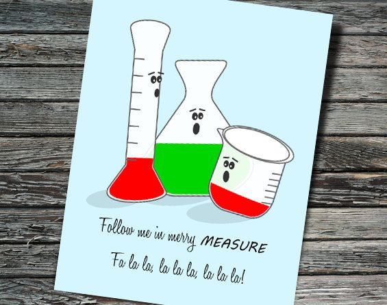Merry Measure Nerdy Beaker Christmas Holiday Card Biology Etsy Nerdy Christmas Christmas Science Christmas Jokes