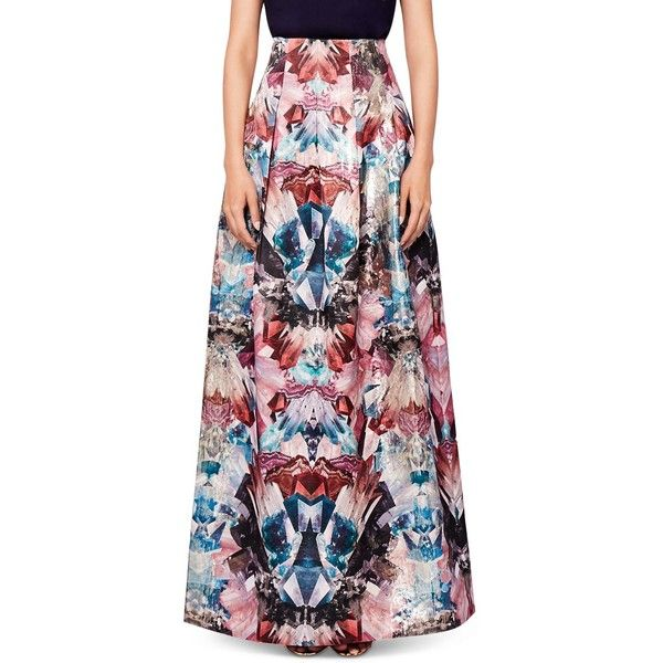 Ted Baker Frelan Mirrored Minerals Maxi Skirt ($435) ❤ liked on Polyvore  featuring skirts