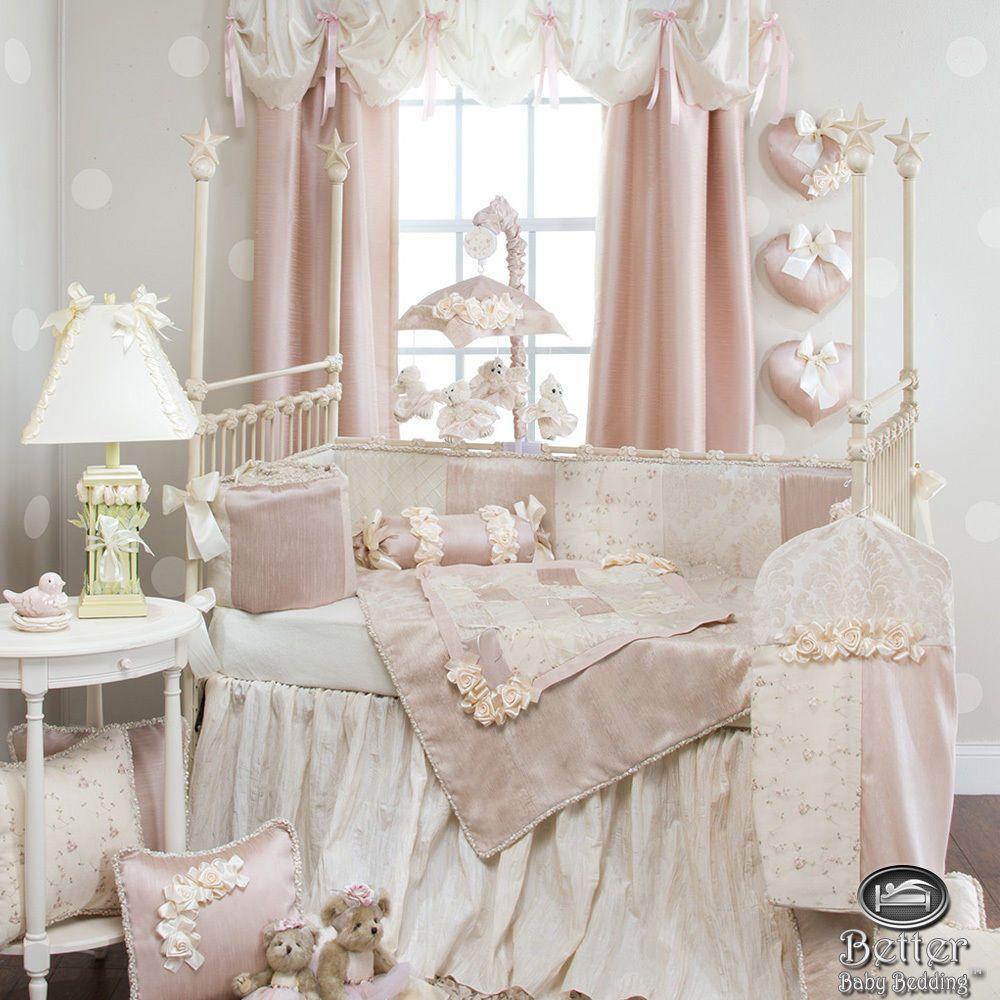 Best Baby Girl Pink Damask Elegant Rose Luxury Crib