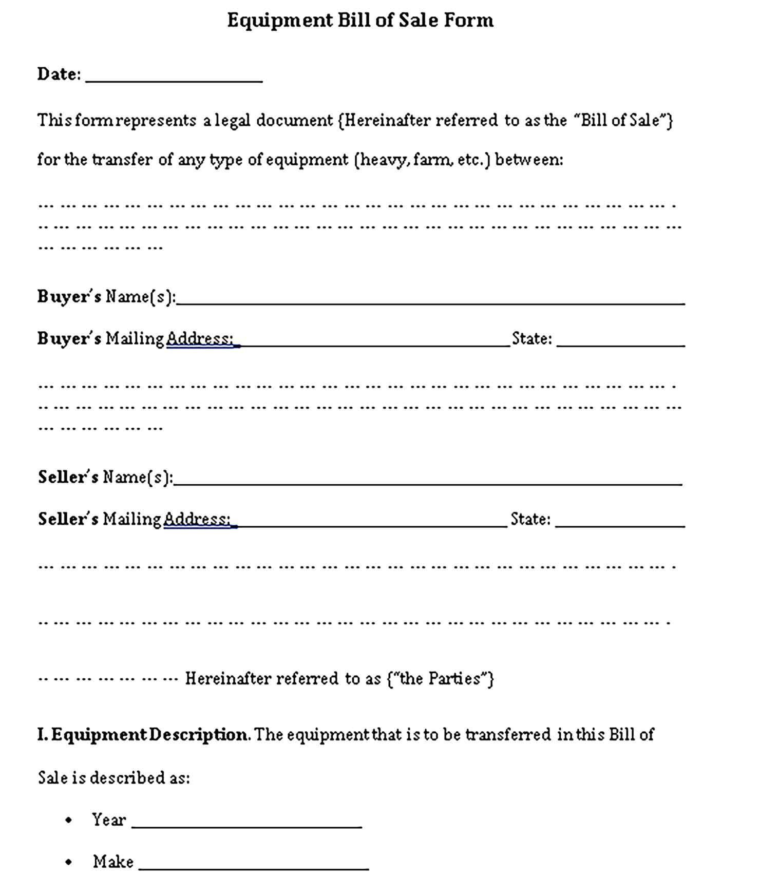 Printable Equipment Bill Of Sale Bill Of Sale Template Business Template Bills