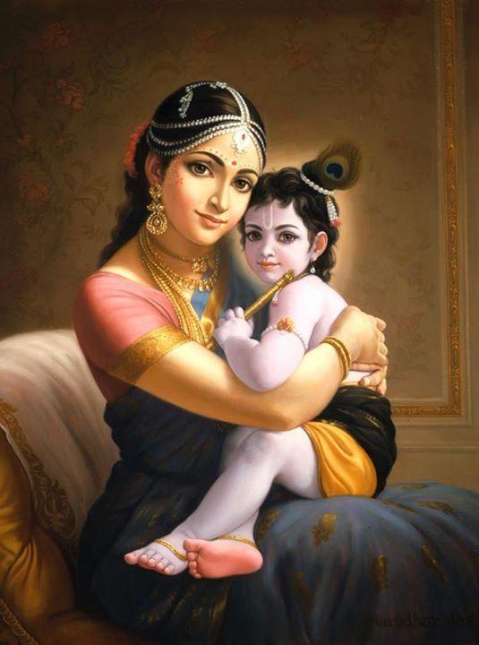 Little Krishna With His Mom Maa Yasoda Jyoti In 2018 Pinterest