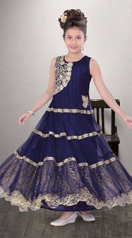 c8fae700ef5e Blue Net Kids Girl Designer Ankle Length Gown DT11948