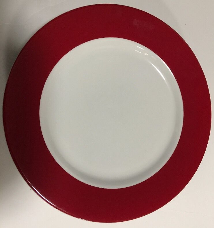 Crate And Barrell Monno Red Wide Band Smooth 4pc Bangladesh Dinner Plates 11 Dinner Plates Plates Crates