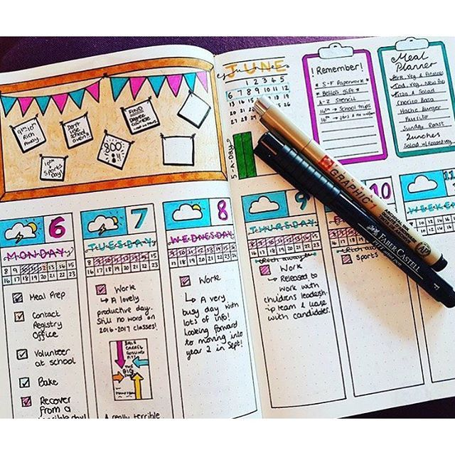 Color Journal Ideas : Change up your bullet journal pages with this daily log layout