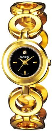 Casio Womens LTP1348G-1C Gold Gold Tone Stainles-Steel Quartz Watch with Black Dial