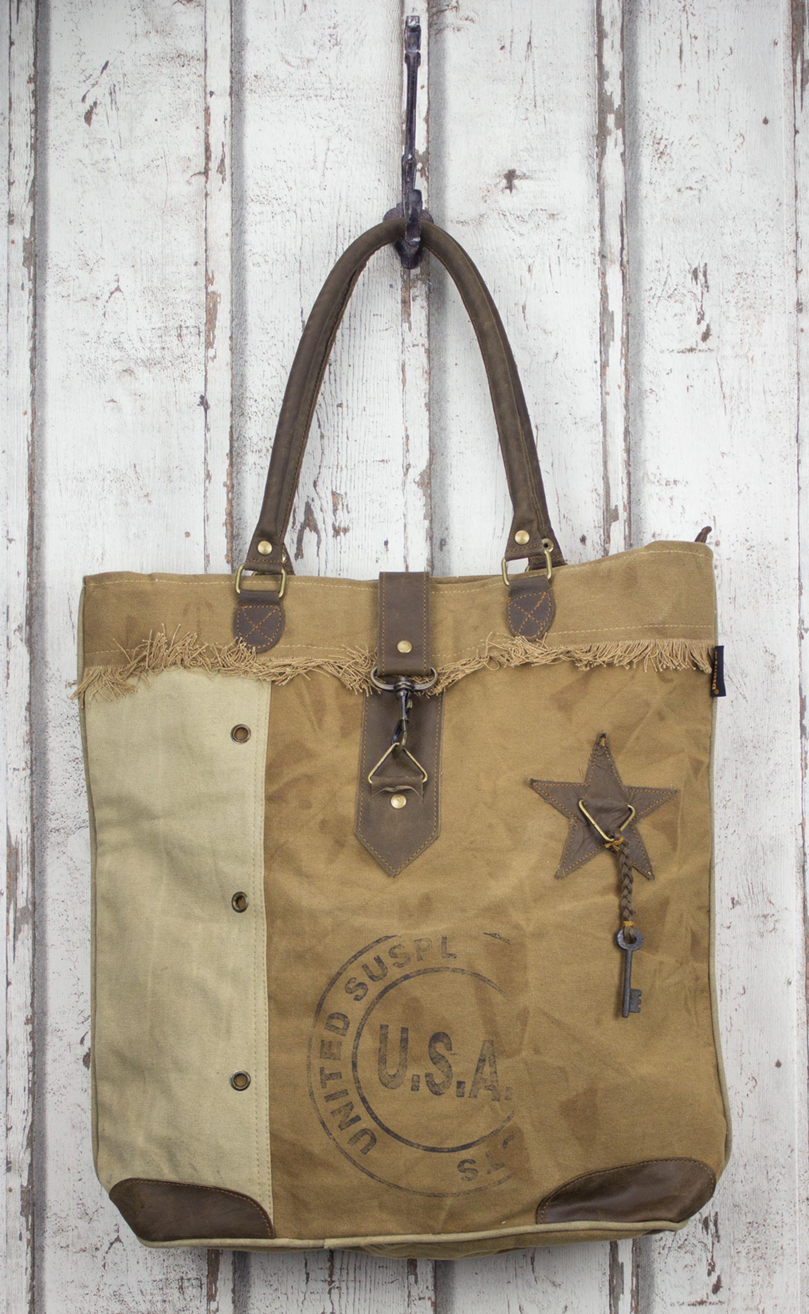 Vintage Shopper Tasche Canvas Handtasche Schultertasche ...