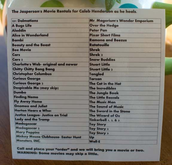 "Cute Idea: a ""video rental"" sheet for someone who's sick :) #TIP #gift"
