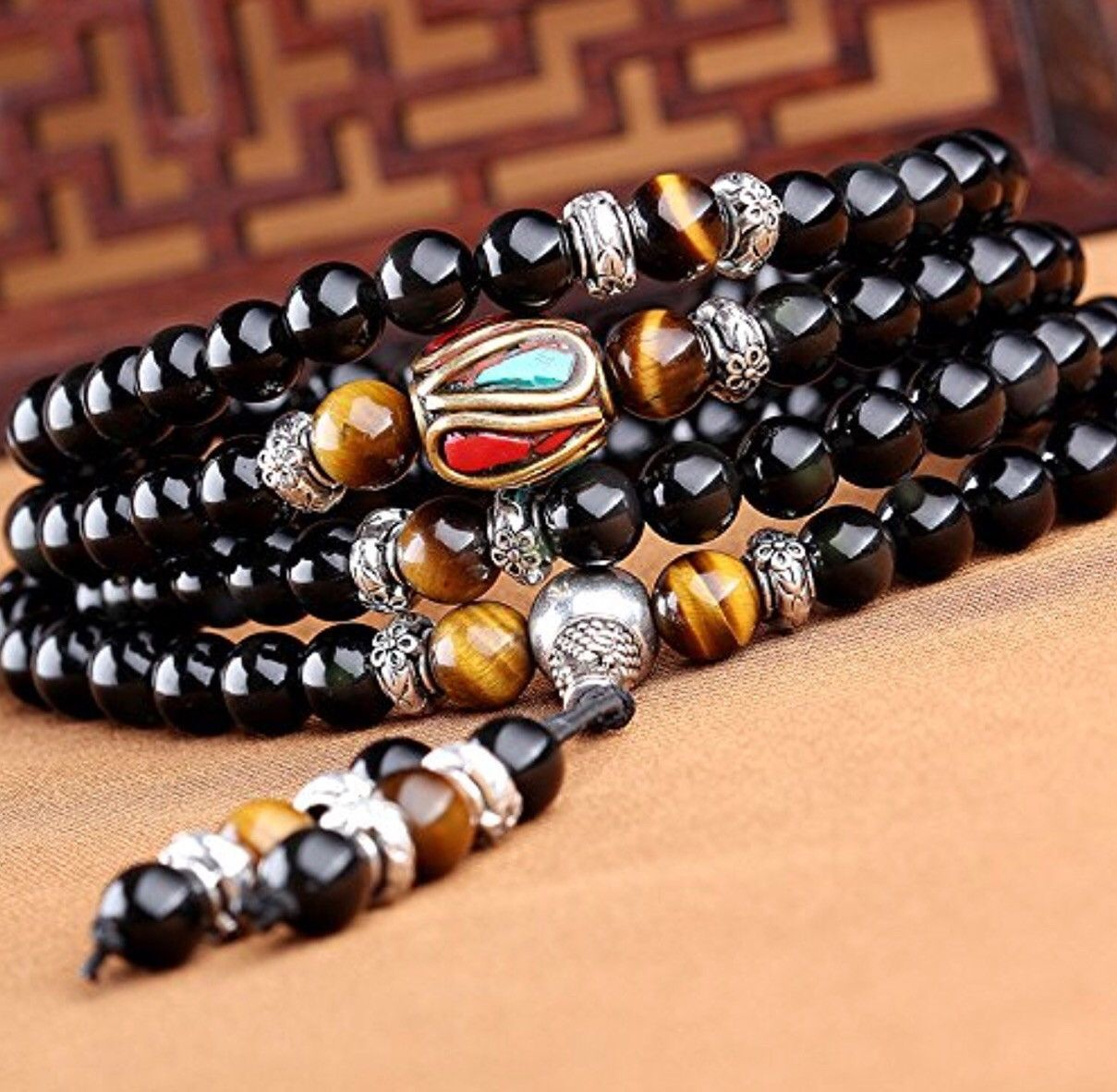 Tiger eye and obsidian malas prayer beads bracelet products