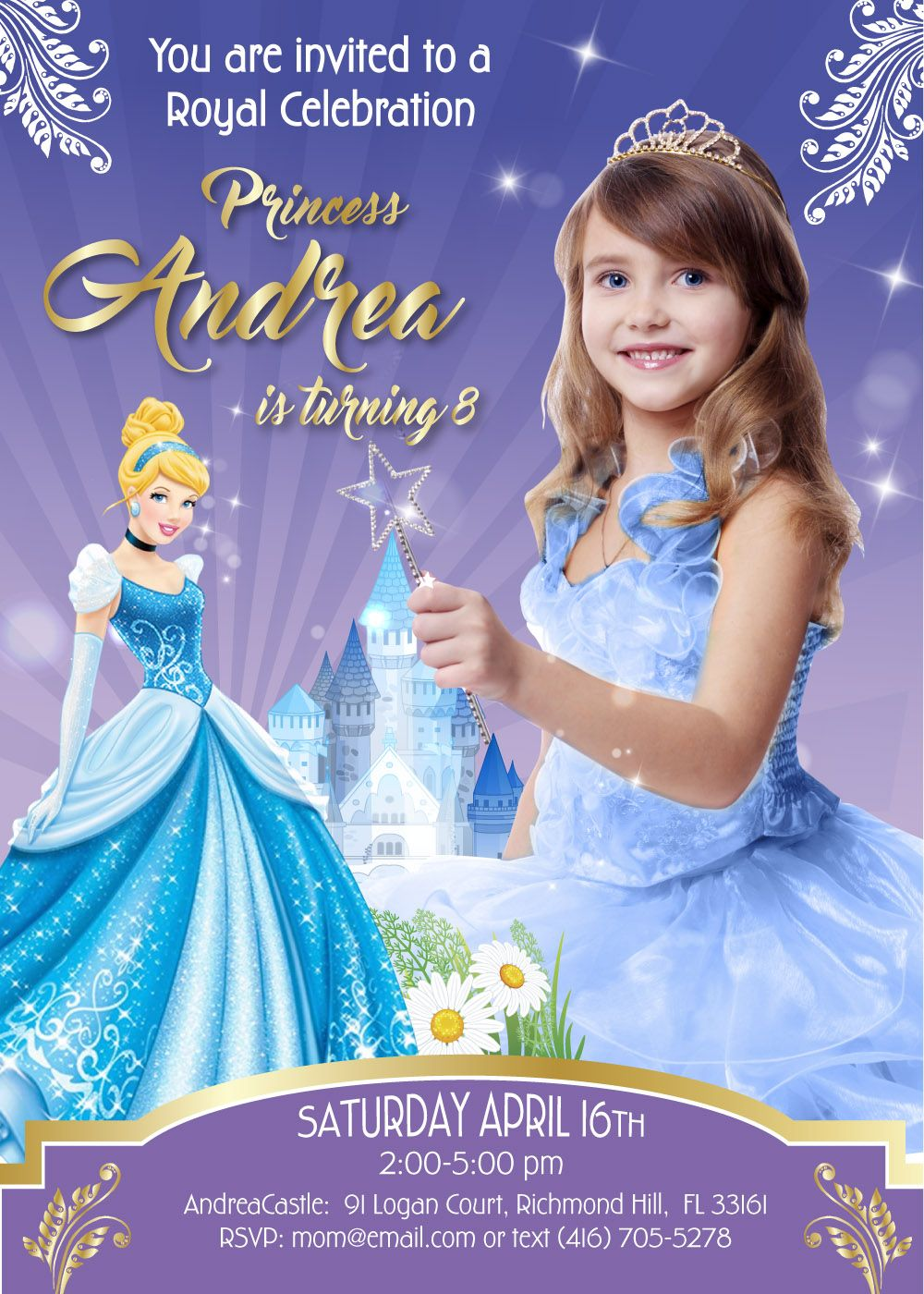 Cinderella Theme Party Custom Cinderella Invitation Princess Birthday Invitations Birthday Tarpaulin Design Photo Birthday Invitations