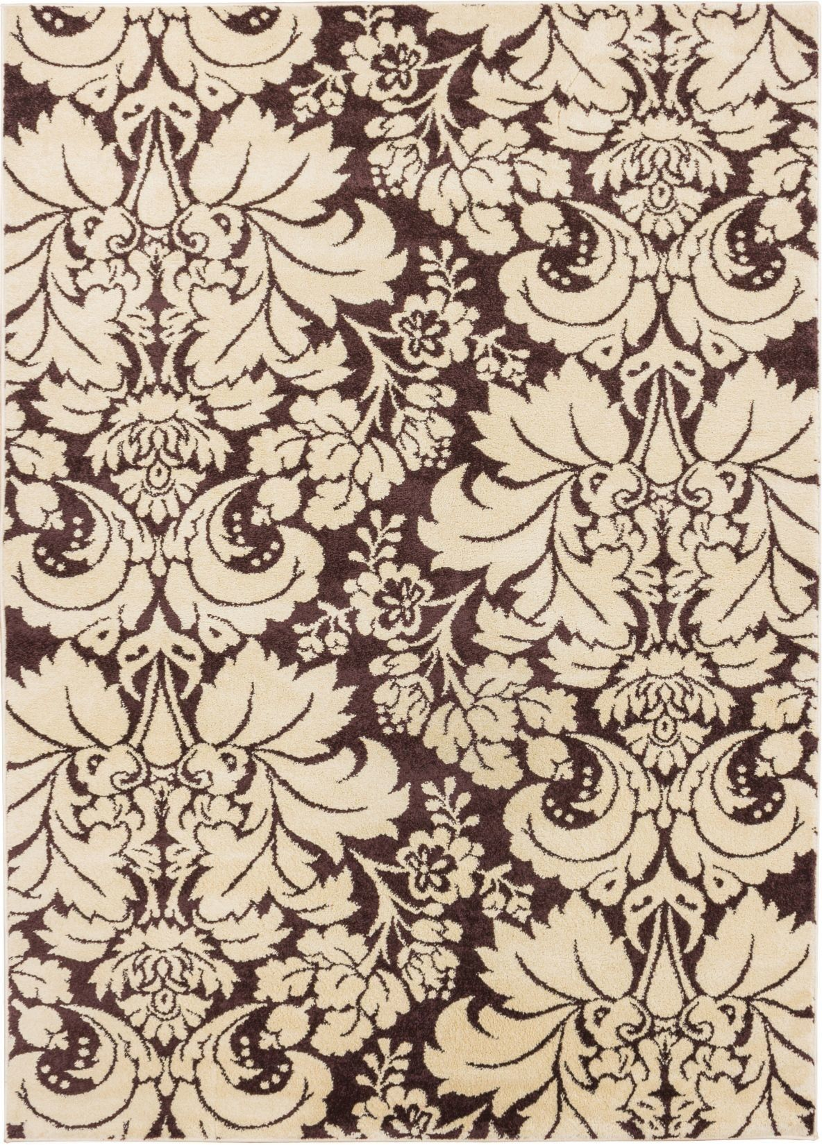 Sydney Damask Toile Brown Area Rug