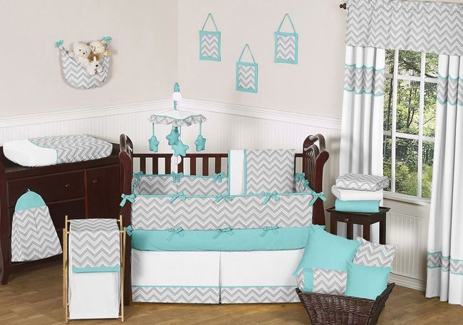 GRAY TURQUOISE MODERN CHEVRON ZIG ZAG UNISEX GREY BABY GIRL BOY CRIB BEDDING SET