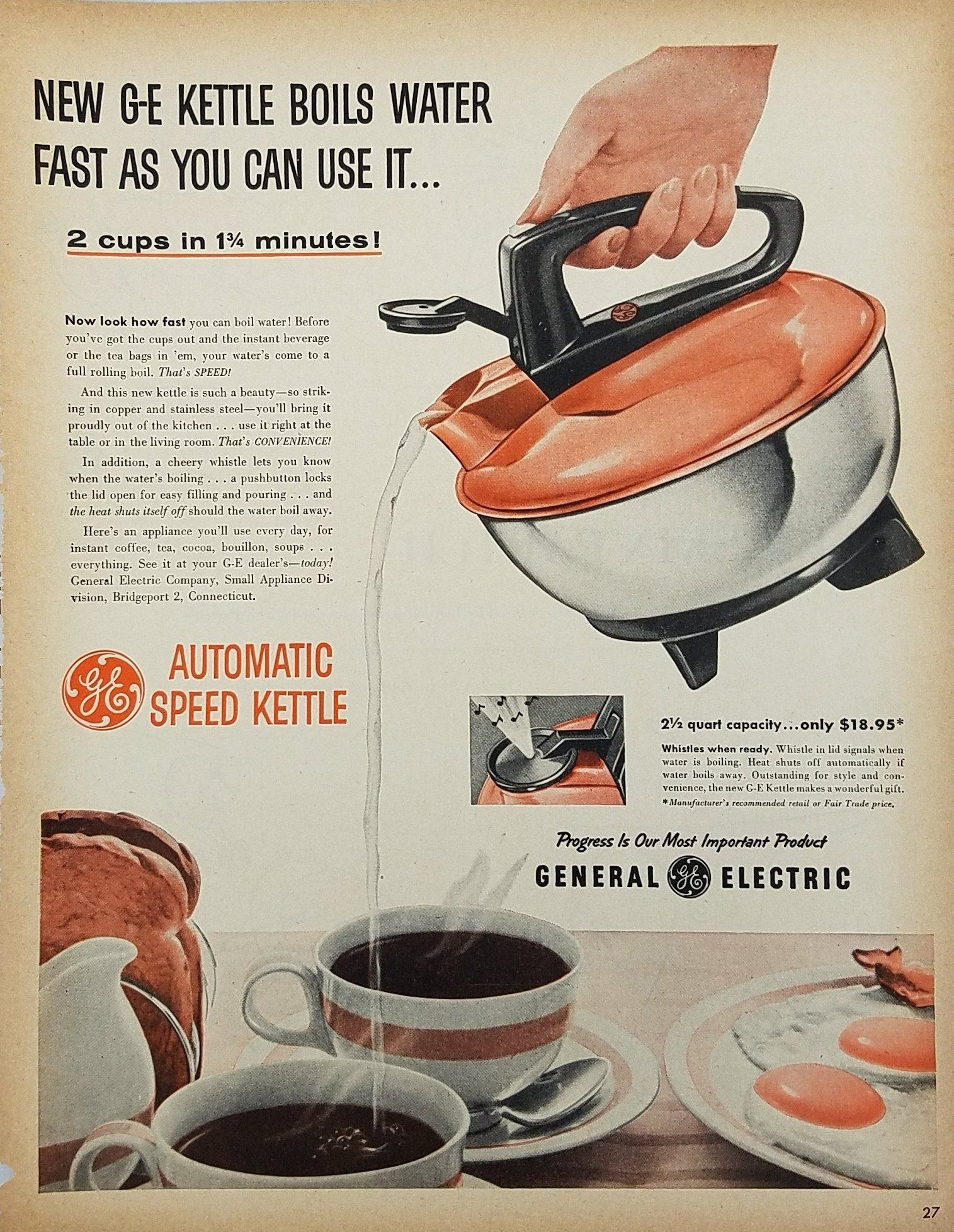 1955 Ge General Electric Automatic Speed Kettle Print Ad Old