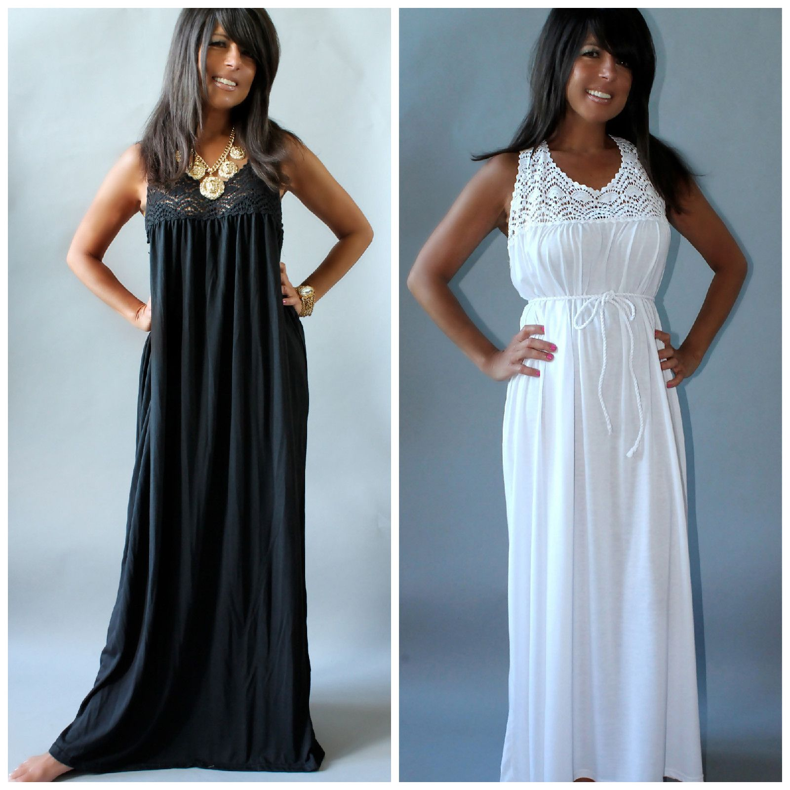 Crochet lace maxi dress black or white summer beach cruise plus size