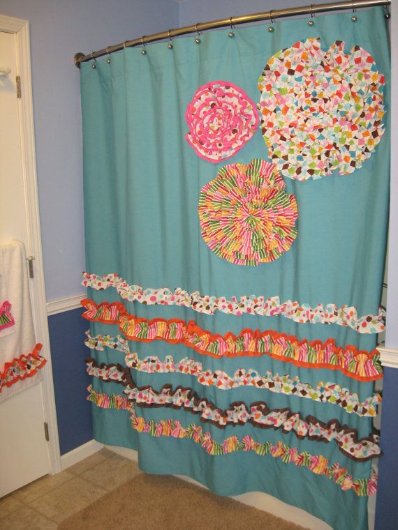 Shower Curtain Custom Made Designer Fabric Ruffles And Flowers Aqua Lime Green Hot Pink Orange Brown Yellow Teal Turquoise Dots Stripes