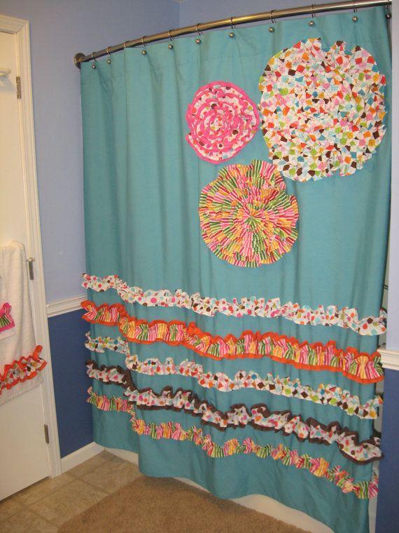 Shower Curtain Custom Made Designer Fabric Ruffles And