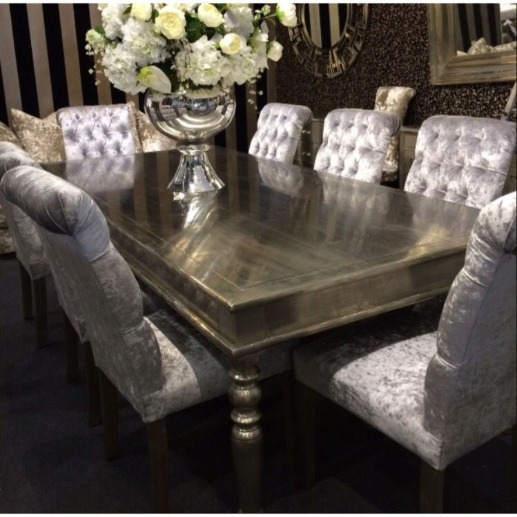 Gorgeous Dining Table And Crushed Velvet Chairs Dining