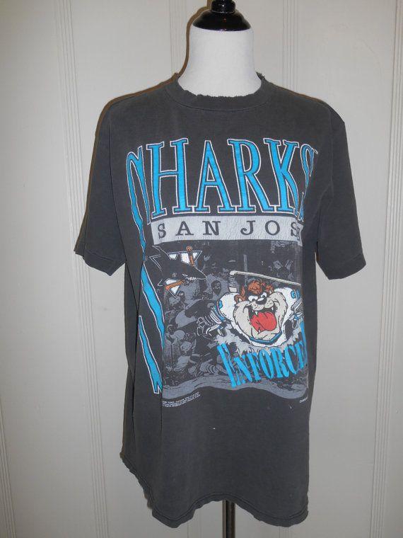 d74100956944 Vintage tee t shirt San Jose Sharks 90s 1991 taz tazmanian devil ...