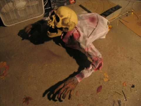 describes how to make scary homemade motorized or animated animatronic halloween props diy animatronics made for my haunted house halloween check o - How To Make Animated Halloween Props