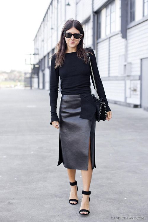 Yes ... long leather skirt,   amazing shoes ... deadly all black