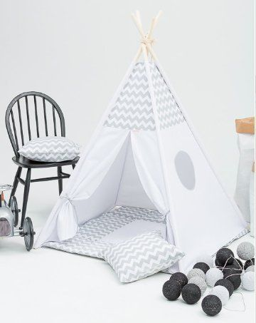 Childrenu0027s Play Tent Teepee Set incl Floor Mat - Grey Che...  : childrens play tents uk - memphite.com