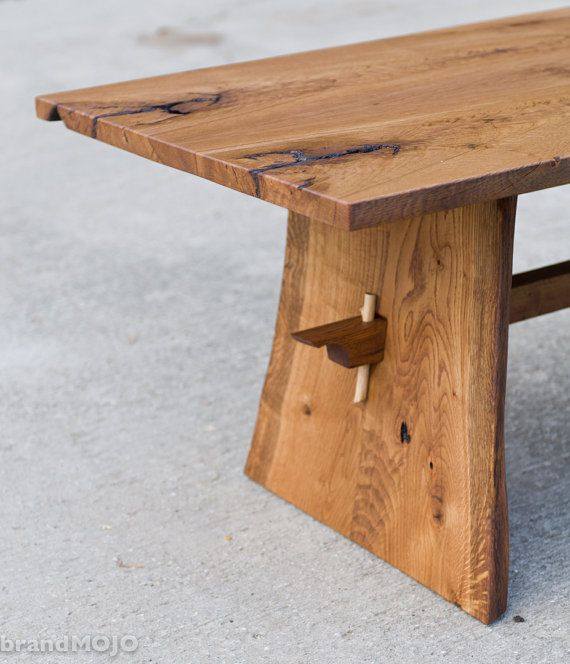 Live Edge Square Coffee Table: CUSTOM Live Edge Coffee Table-Trestle Table-Mid Century