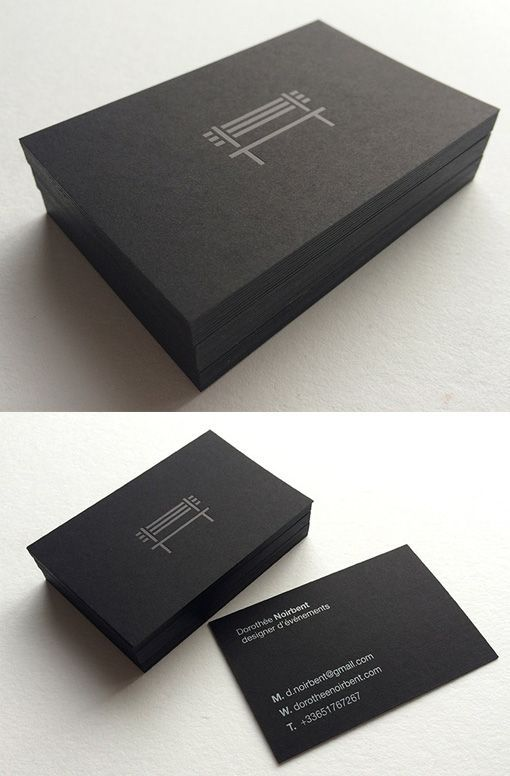 Sleek Black On Black Minimalist Business Card Design  Business