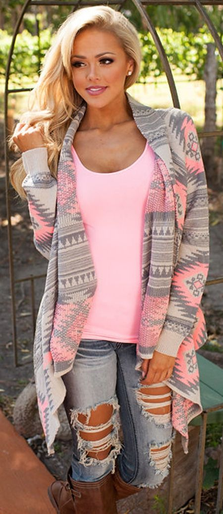 f103e46a77 magic cardi in grey and pink color Pink Color