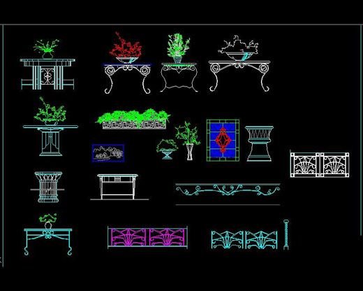 Table and iron ornamental detail free autocad drawing cad for Table elevation cad block