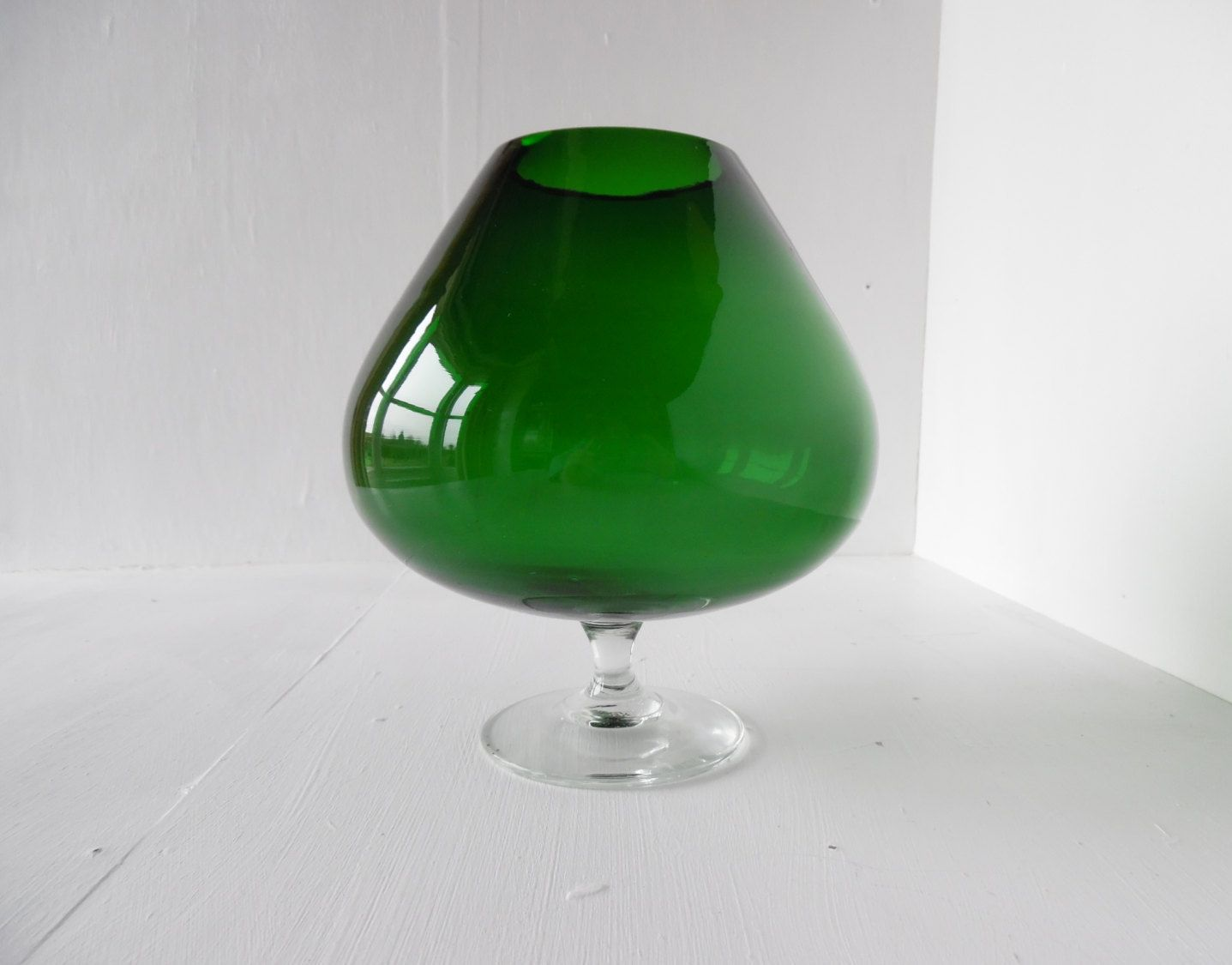 Large green glass balloon vase giant brandy snifter mid large green glass balloon vase giant brandy snifter mid century 75 by blinddogvintage reviewsmspy