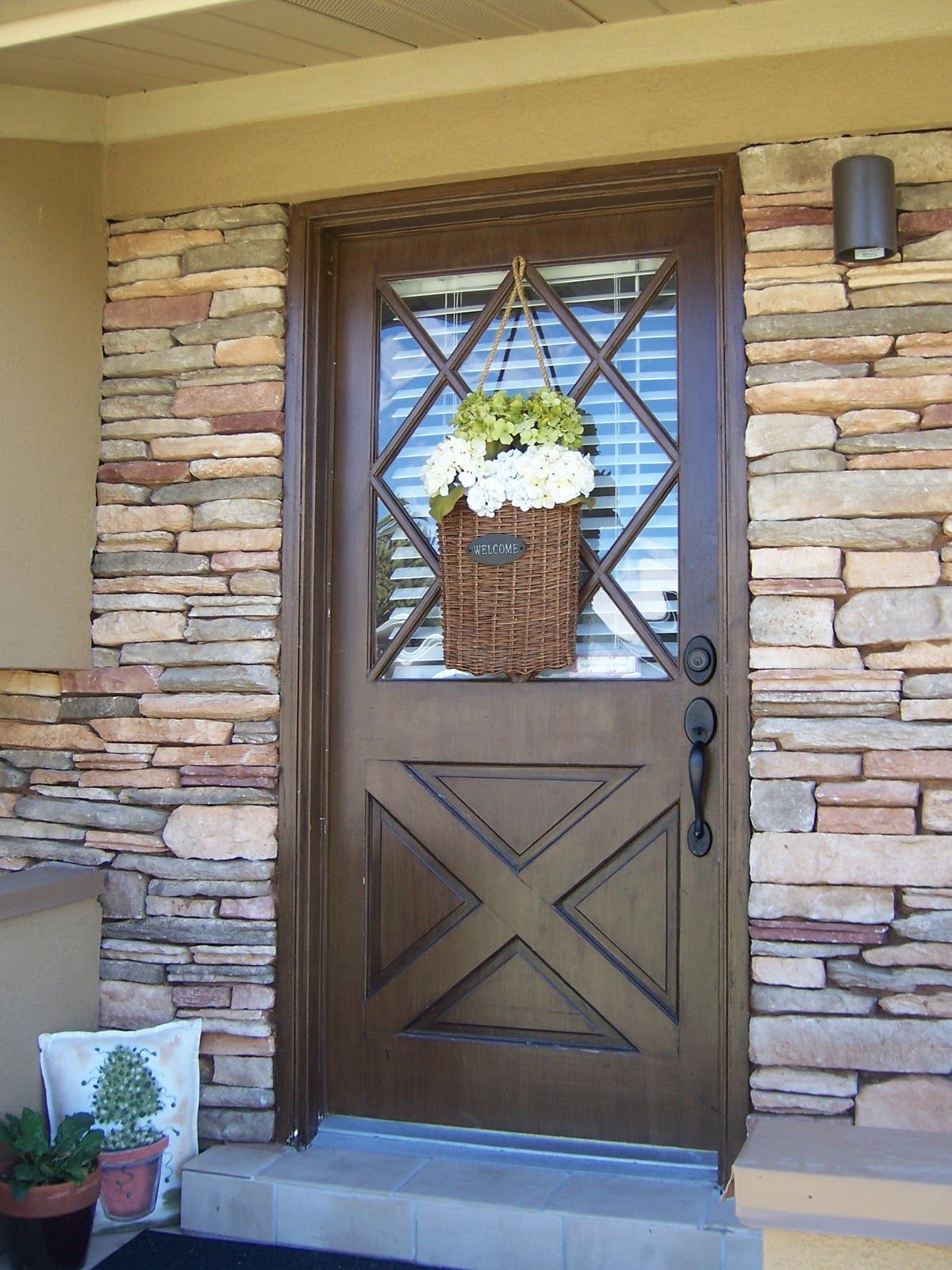 Accessories \u0026 FurnitureRustic French Country Entry Doors With Brown Wooden Door And Beautiful Wreath : counrty door - Pezcame.Com