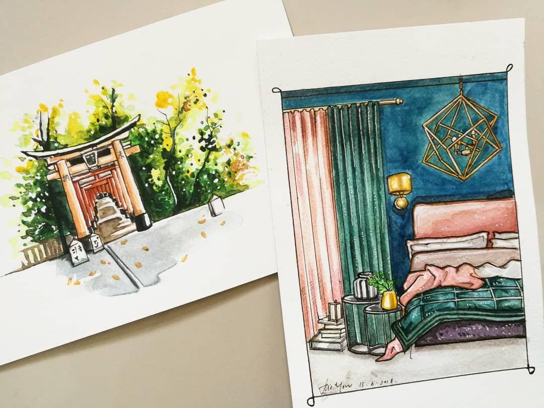 Imitate Watercolor Painting Extrrior Landscape Architecture