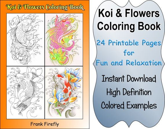Colouring Book For Adults Examples Koi Fish Coloring 24 Printable Pages Outlines