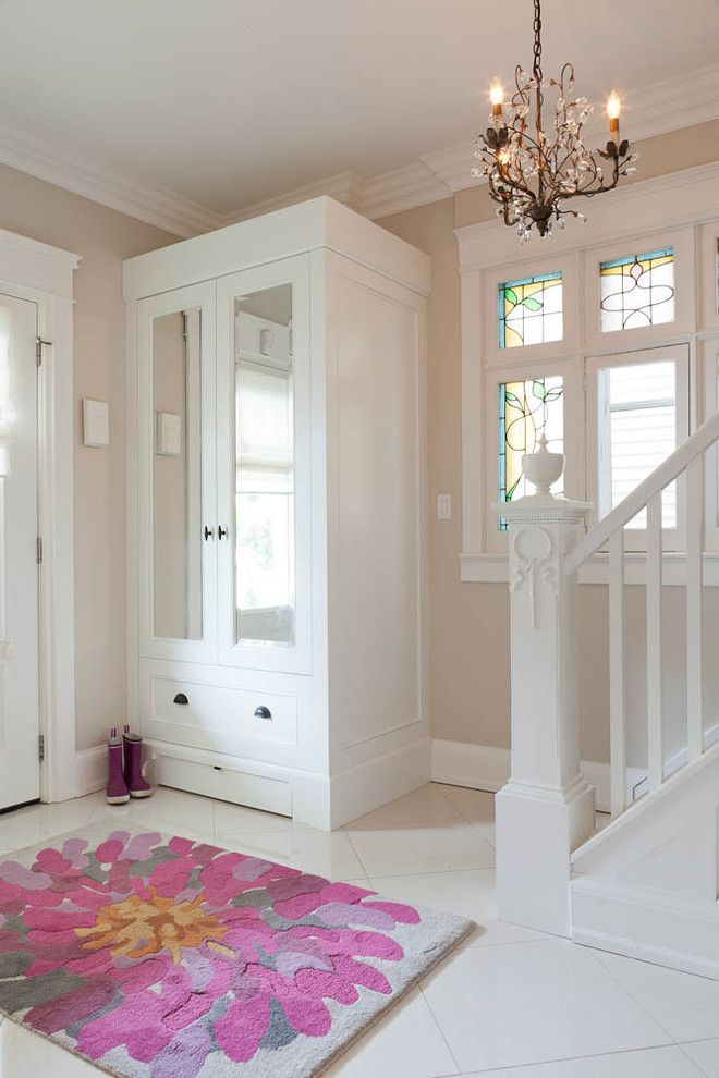 Front Hall Closet Storage Ideas Entry Transitional With Floral Rug Mirrored  Cabinets
