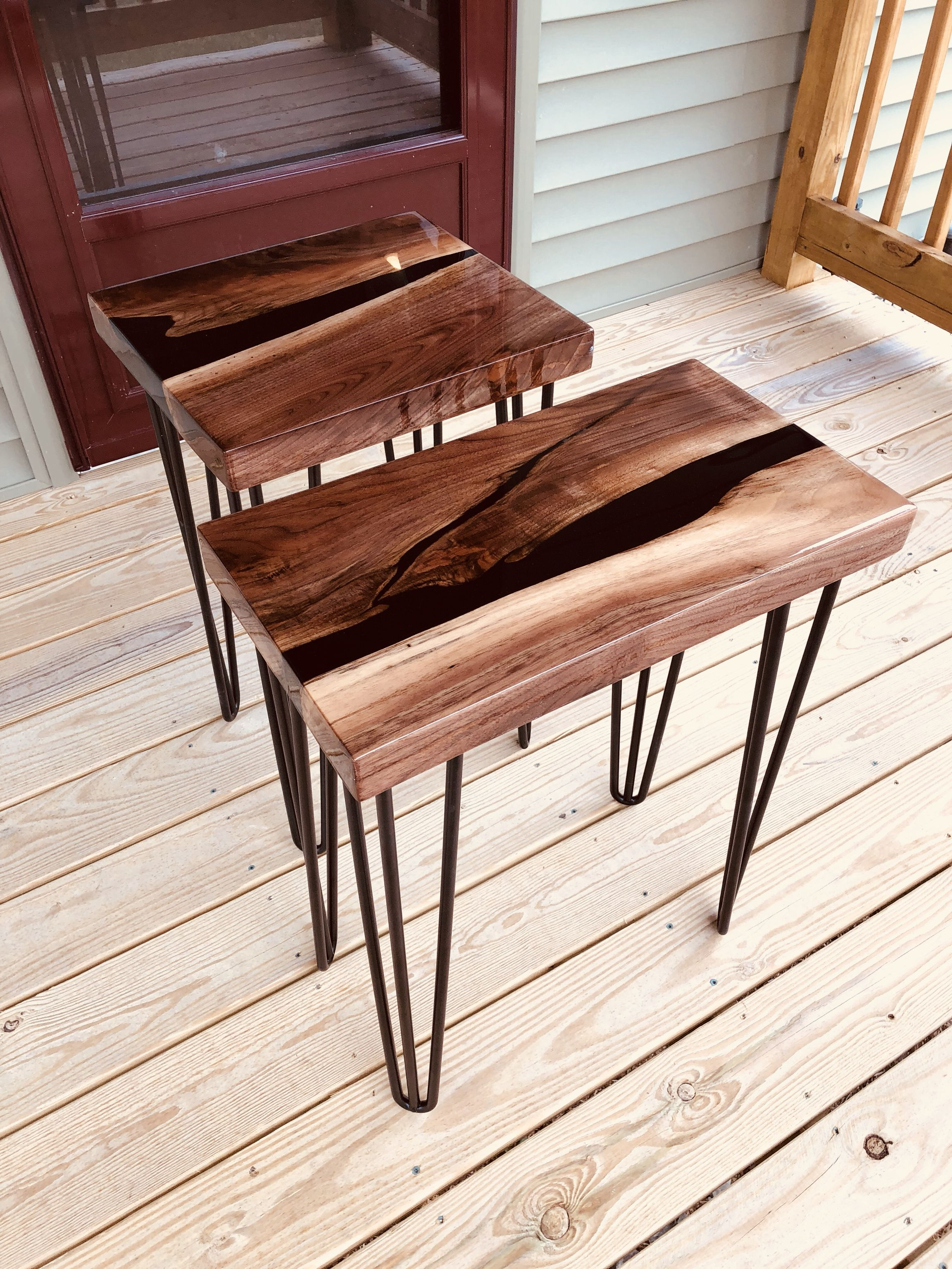 Walnut Black Epoxy River End Tables With Images Resin Table Top Coffee Table End Tables
