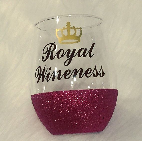 Royal Wineness Glass / Glitter Dipped Glass / Sparkle Wine