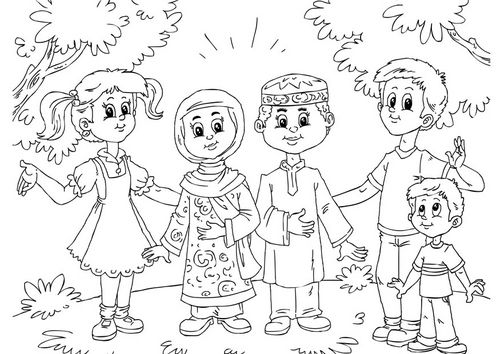 Coloring Page Muslim Children With Western