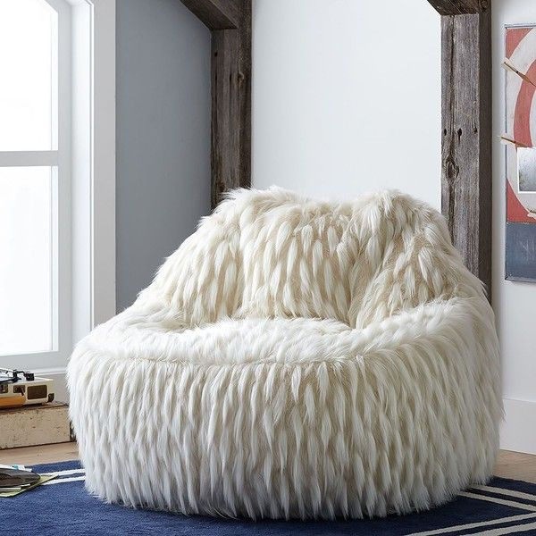 Superieur PB Teen Llama Faux Fur Leanback Lounger ($229) ❤ Liked On Polyvore Featuring