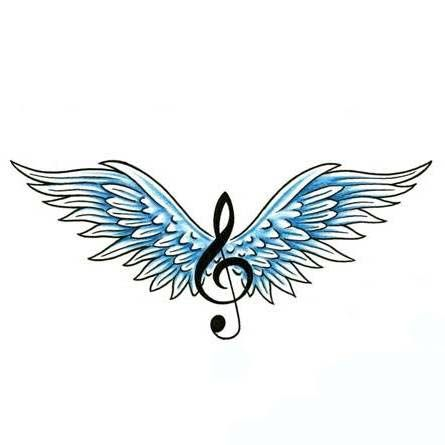 Photo of angel wings with music note | Displaying (19) Gallery Images For Est 1995 Tattoo…