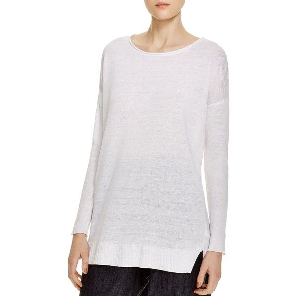 Eileen Fisher Organic Linen Drop Shoulder Tunic ($200) ❤ liked on Polyvore featuring tops, tunics, white, white linen top, white linen tunic, eileen fisher tunic, white top and linen tops