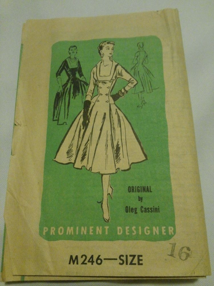 Rare M246 Vintage 1950s Pattern Size 16 Oleg Cassini Prominent Designer Fashion
