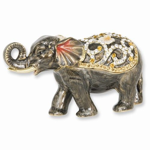 05ee40a462d Enameled & Crystal Grey Elephant Trinket Box by Jere | Art and Gifts ...