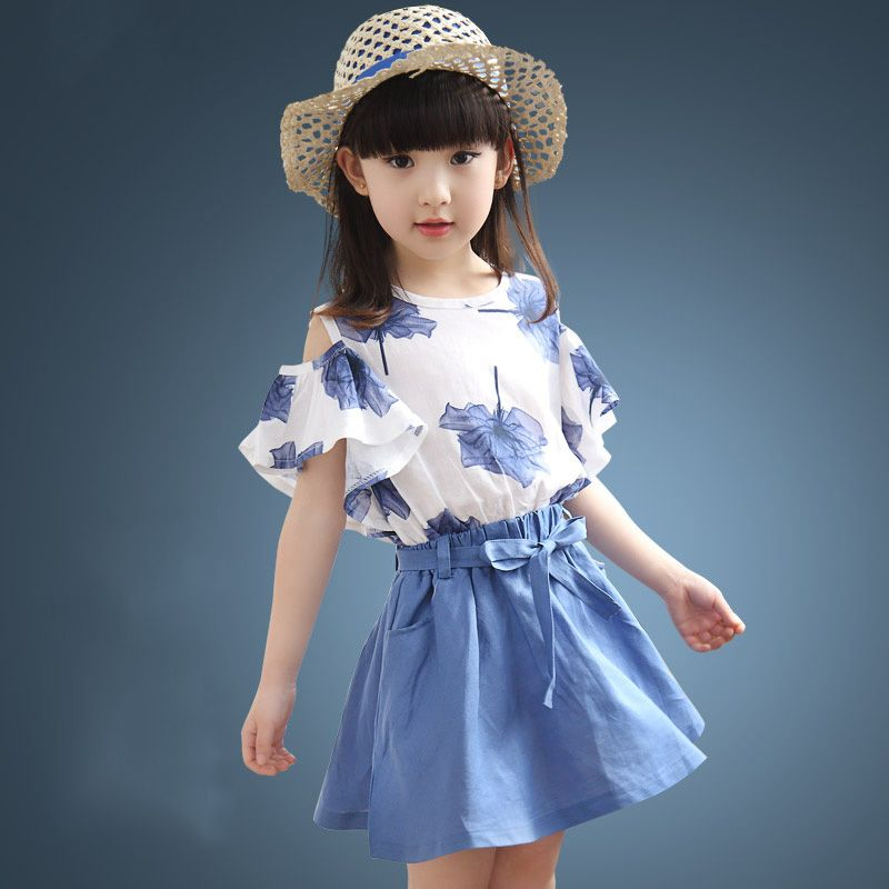 6b1b6f20f31711 Fashion trendy clothes children 2 to 10 years girls skirts + off shoulder  top kids summer