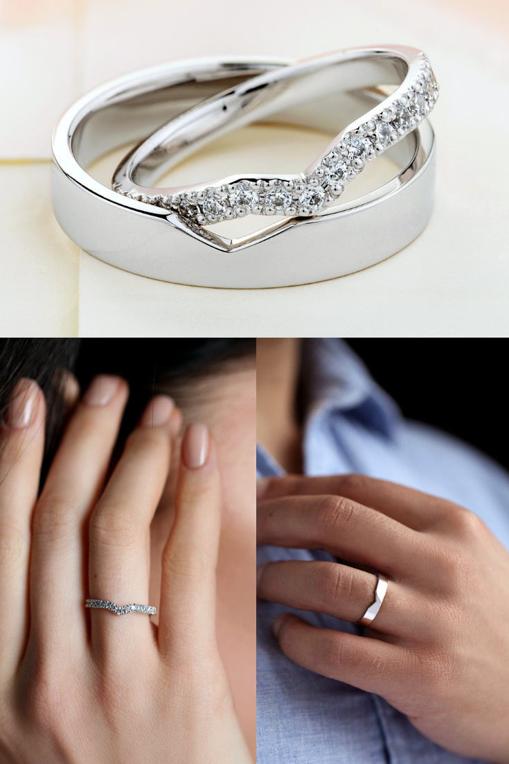 Beautiful Matching Wedding Bands With Diamonds In Her Ring Etsy Wedding Rings Sets His And Hers Wedding Ring Bands Wedding Rings Unique