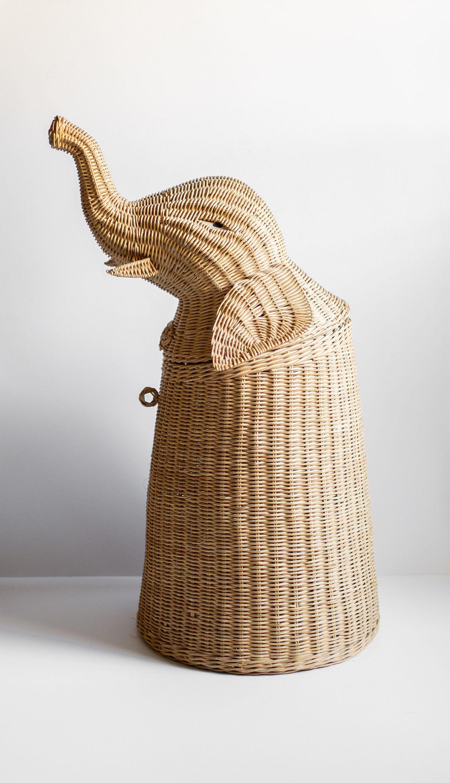 Vintage Wicker Elephant Hamper Laundry Basket Storage Kids