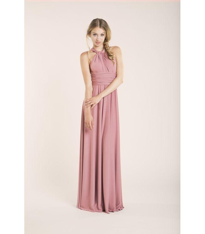 Vestido rosa palo convertible para invitada - Gala Essential Largo ...