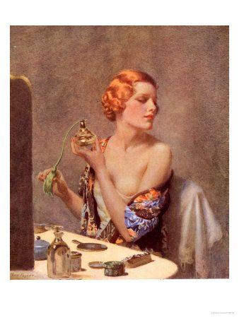 Perfume Woman Doing Her Make-Up, Budoir Putting On Perfume, UK, 1930: vintage art perfume #vintage #art #perfume