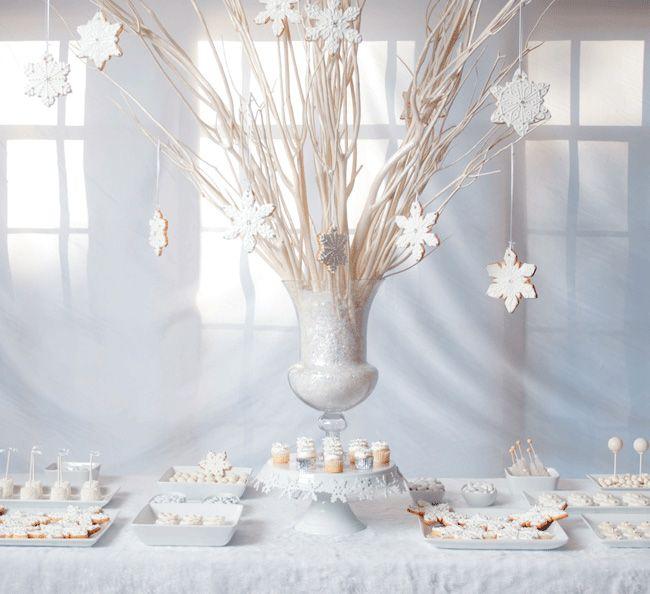 White Christmas Party Ideas Part - 32: White Christmas Dessert Table
