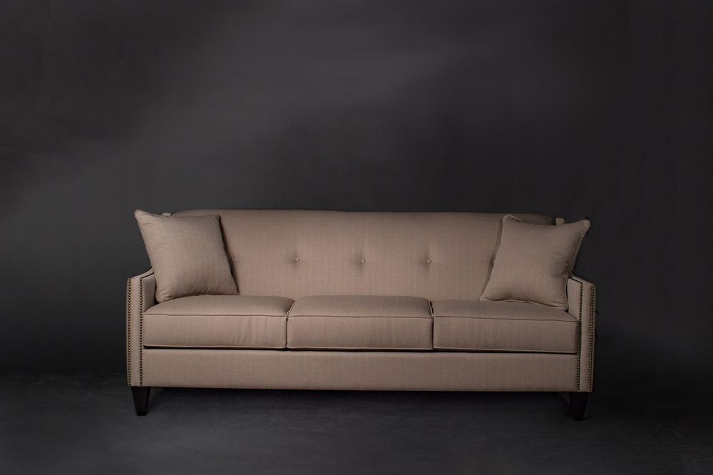 Model 9009 Nuetral Tone Pintucked Sofa With Pillows Living